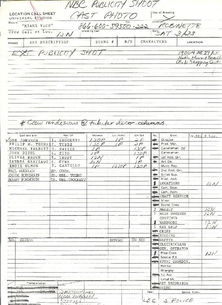 Lombard Call Sheets